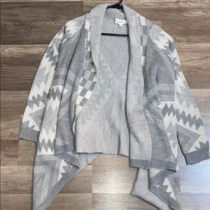 gray patterned cardigan